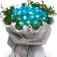 파랑장미꽃다발